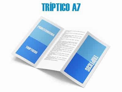 Tríptico/folleto formato A7 (74×105 mm cerrado)