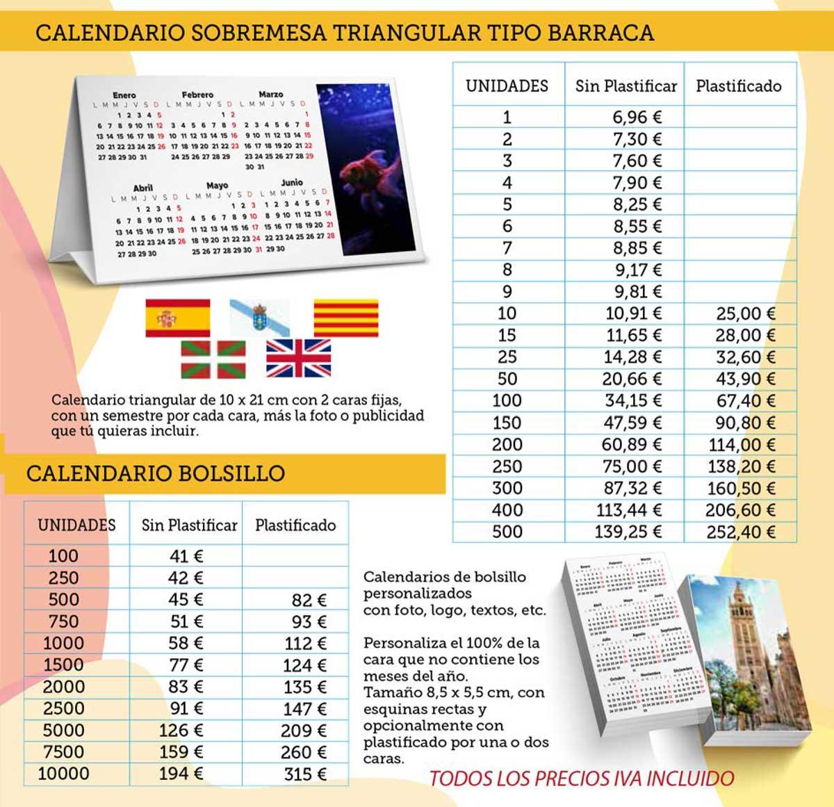 calendario barraca y bolsillo personalizados
