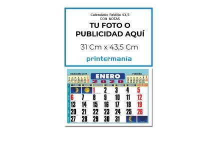 Calendario de pared faldilla mensual 43.5 cm