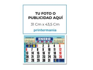 Calendario de pared faldilla 43,5 con tu foto