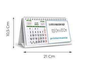 tamaño calendario wire o