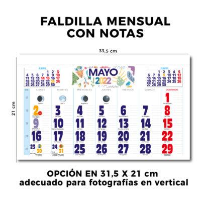 Calendario de pared faldilla mensual 31.5 cm