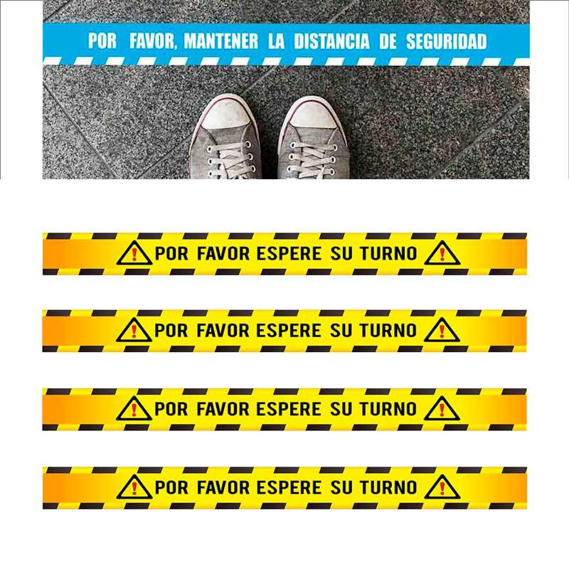 Distancia de seguridad Pack 5 Vinilos adhesivos Pegatinas Vinilo Suelo 100 X 10 CM Para suelo cinta adhesiva