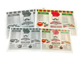 cartas de restaurante desechables