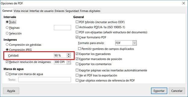 opcion exportar pdf libreoffice