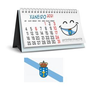 calendario personalizado de sobremesa en Gallego