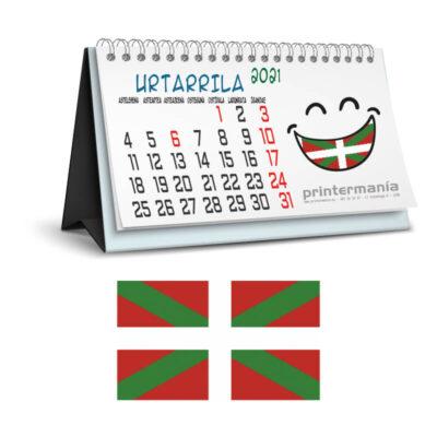 calendario personalizado de sobremesa en Euskera
