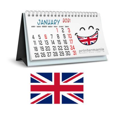 calendario personalizado de sobremesa en Ingles