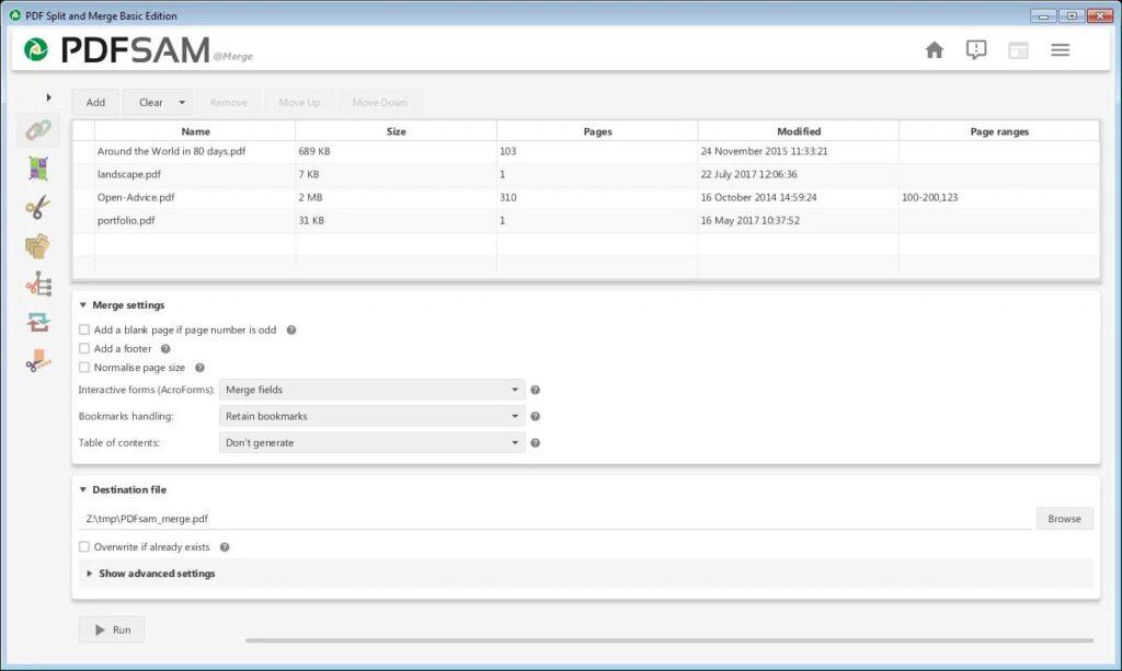 Combinar archivos con PDF SAM basic